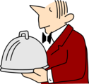 Free Stock Photo: Illustration of a waiter carrying a covered dish