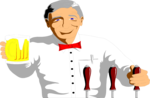 Free Stock Photo: Illustration of a bartender with a beer