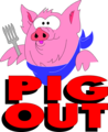 Free Stock Photo: Illustration of a pig and pig out text