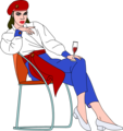 Free Stock Photo: Illustration of a beautiful woman sitting in a chair drinking wine