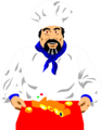 Free Stock Photo: Illustration of a chef with food on a tray