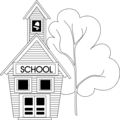 Free Stock Photo: Illustration of a small school house by a tree