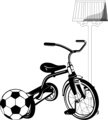 Free Stock Photo: Illustration of a tricycle and a soccer ball