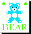 Free Stock Photo: Illustration of a blue teddy bear with text