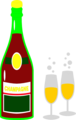 Free Stock Photo: Illustration of a bottle of champagne and two glasses