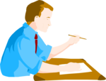 Free Stock Photo: Illustration of a business man at a desk