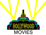 Free Stock Photo: Illustration of a Hollywood sign with movies text and spotlights