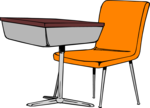 Free Stock Photo: Illustration of a student desk and chair
