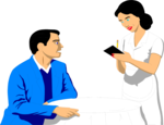 Free Stock Photo: Illustration of a waitress taking an order from a man