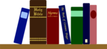 Free Stock Photo: Illustration of books and a bible on a shelf