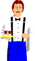 Free Stock Photo: Illustration of a waiter with wine glasses