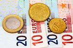 Free Stock Photo: Euro coins and bills