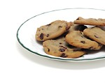 Free Stock Photo: Chocolate chip cookies on a plate