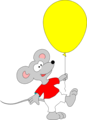 Free Stock Photo: Illustration of a mouse with a yellow balloon
