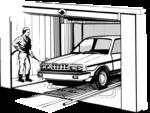 Free Stock Photo: Illustration of a man washing a car