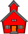 Free Stock Photo: Illustration of a red school house