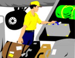 Free Stock Photo: Illustration of a baggage handler loading luggage onto an airplane