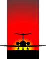 Free Stock Photo: Illustration of a silhouette of an airplane in the sunset