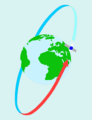 Free Stock Photo: Illustration of a satellite orbiting around the globe