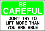 Free Stock Photo: Illustration of a lifting safety warning sign