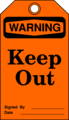 Free Stock Photo: Illustration of a keep out warning tag