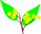 Free Stock Photo: Illustration of yellow flowers with large green leaves