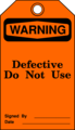 Free Stock Photo: Illustration of a defective warning tag
