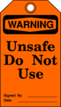 Free Stock Photo: Illustration of an unsafe warning tag
