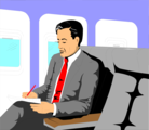 Free Stock Photo: Illustration of a business man sitting in an airplane