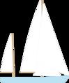 Free Stock Photo: Illustration of a blue sailboat