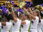 Free Stock Photo: High school cheerleaders at a football game