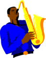 Free Stock Photo: Illustration of an African American man playing the saxophone