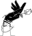 Free Stock Photo: Illustration of a hand in a black glove holding a rose