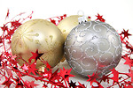 Free Stock Photo: Gold and silver Christmas ornaments