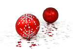 Free Stock Photo: Red Christmas ornaments with silver stars on a white floor