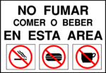Free Stock Photo: Illustration of a no smoking, eating or drinking sign in Spanish