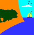 Free Stock Photo: Illustration of a navigation map and a sailing boat