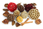 Free Stock Photo: Christmas pot pourri decoration on a white background