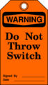 Free Stock Photo: Illustration of throw switch warning tag