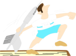 Free Stock Photo: Illustration of a man throwing a dart as a javelin