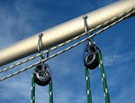 Free Stock Photo: Close-up of lines in a pulley on a sailboat