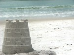Free Stock Photo: A sandcastle overlooking the ocean